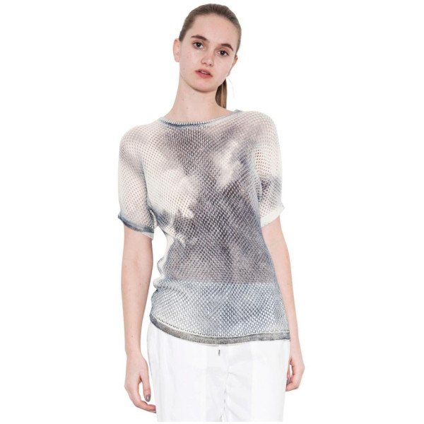 One Grey Day's Nelson Mesh Stitch V Pullover Knit Short Sleeve Top