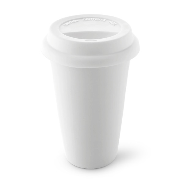 White Porcelain Cup with Flexible Silicone Lid