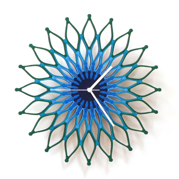 Peacock - large stylish wooden wall clock, sunburst clock
