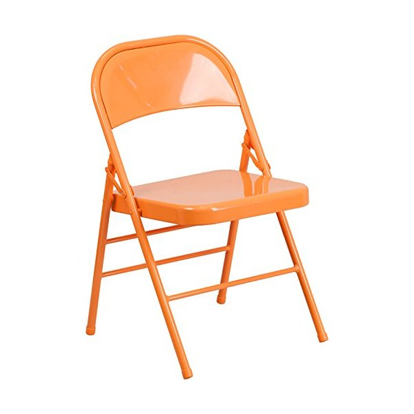 HERCULES COLORBURST Series Orange Marmalade Triple Braced & Double Hinged Metal Folding Chair