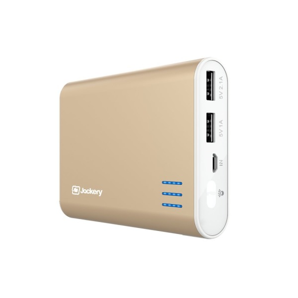Jackery Giant+ Dual USB Portable Battery Charger & External Battery Pack for iPhone, iPad, Galaxy, and Android Smart Devices - 12,000 mAh (Gold)