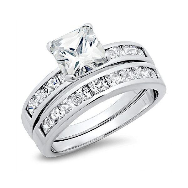 Sterling Silver Cubic Zirconia 2.8 Carat tw Princess Cut CZ Wedding Engagement Ring Set Sz 10