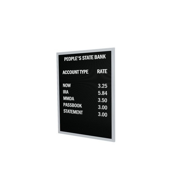 "Open Face Changeable Black Letter Board - 3/4"" Gothic Font Letters Size: 24"" H x 18"" W x 0.56"" D"
