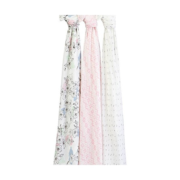 aden + anais silky soft swaddle 3 pack, Meadowlark