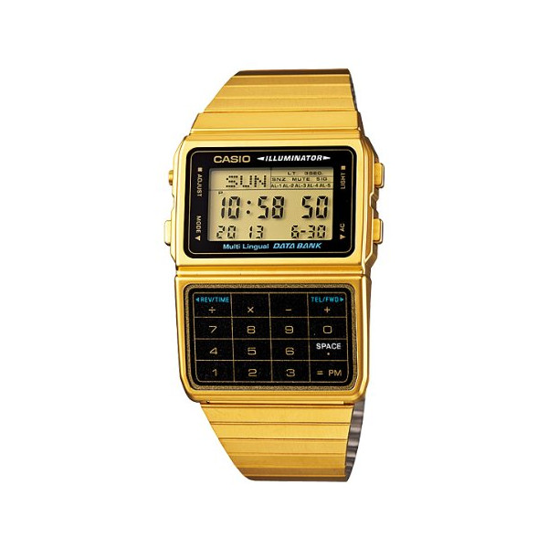 Casio Men's Gold Tone 25 Memory Calculator Databank Watch