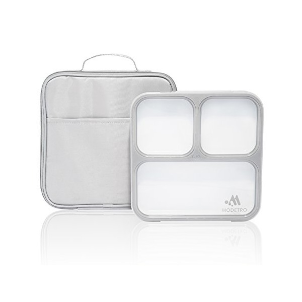 Bento Lunch Box - 3 Portion Control Leak Proof Compartments - Includes Matching Adult Insulated Lunch Bag - Ultra Slim Lunchbox Container (Cool Grey)
