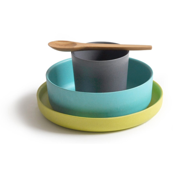 Biobu Bamboo Kids Dinnerware Set, Blue