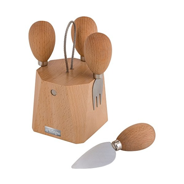 Artelegno Solid Beech Wood Magnetic Cheese Knife Block with 4 Cheese Knives, Luxurious Parma Collection by Master Italian Craftsmen, Ecofriendly, Natural Finish