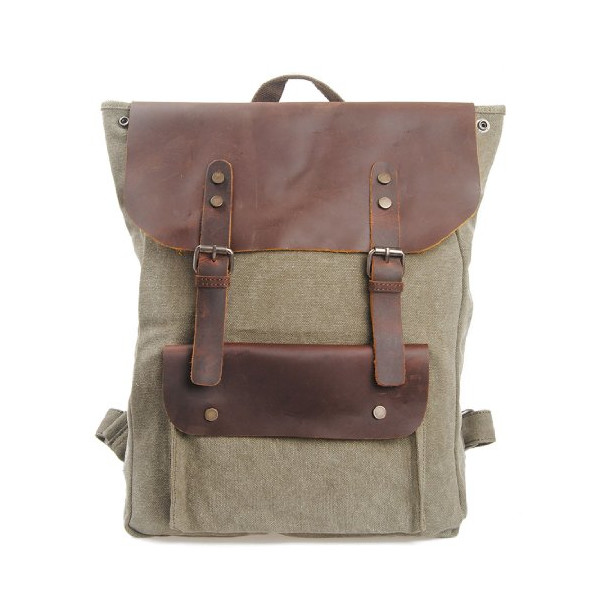 Canvas Genuine Leather Travel School College Backpack Rucksack iPad Bag for Men