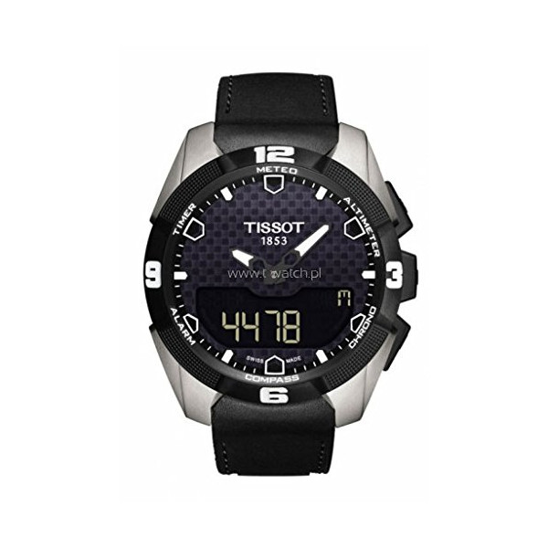 Tissot T-ToUch Expert Solar Black Analog Digital Dial Black Leather Mens Watch T0914204605100