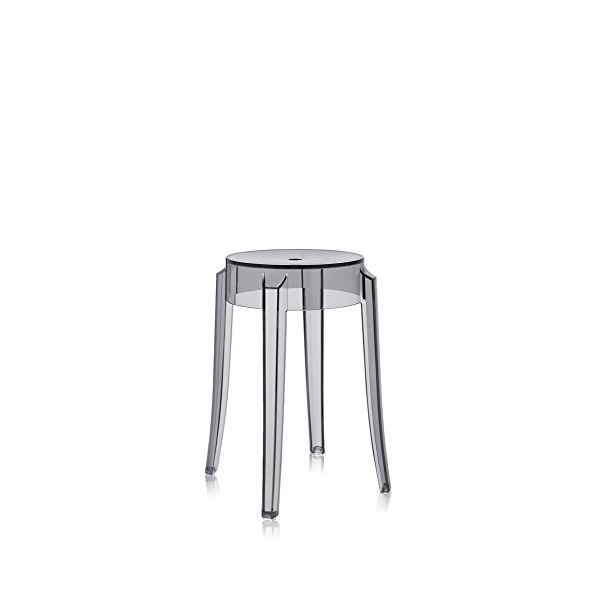 "Kartell Charles Ghost Stool - Small - 18""H, Transparent Smoke Grey"