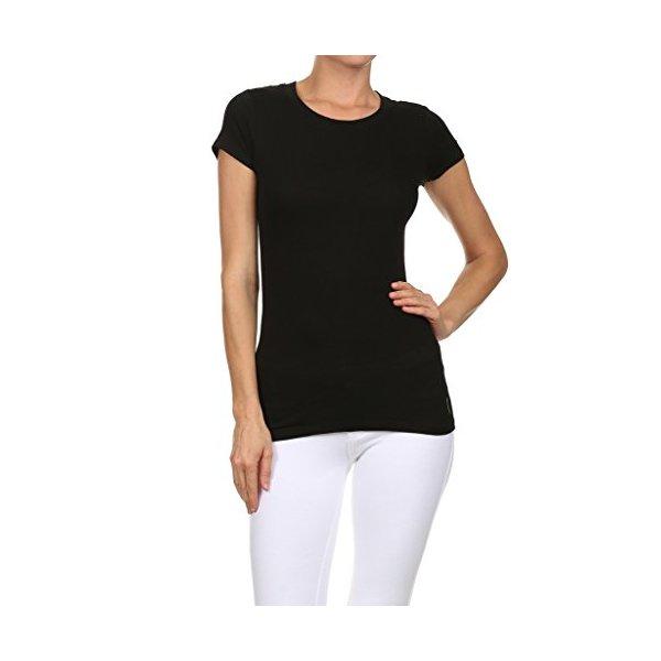 WHITE APPAREL Women's Short Sleeve Round Neck BLACK MEDIUM