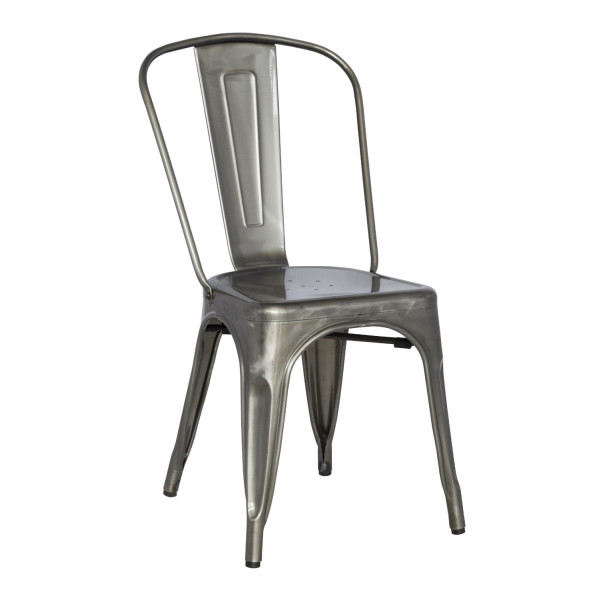 Chintaly Imports Galvanized Steel Side Chair with, Set of 4, Gun Metal