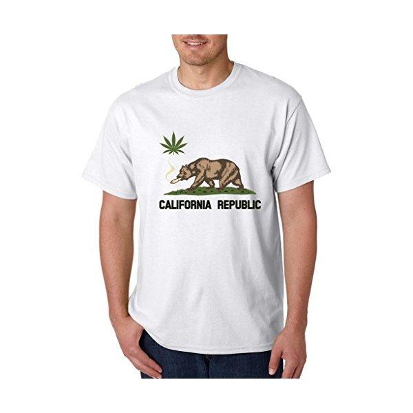 California Republic West Coast T-shirt Bear Smoking Pot Shirts Small White c21
