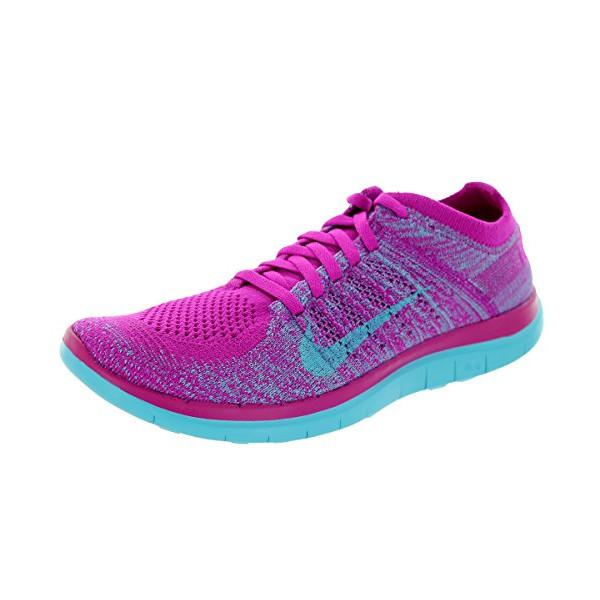 Nike Women's Free 4.0 Flyknit Fchs Flsh/Clrwtr/Mdm Vlt/Plrzd Running Shoe 7.5 Women US