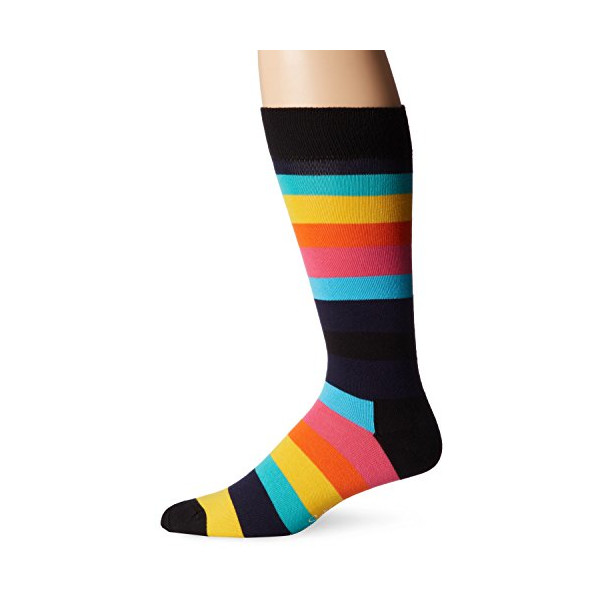 Happy Socks Men's 1Pk Combed Cotton Stripe Crew Sock, Bright Combo, 9-11