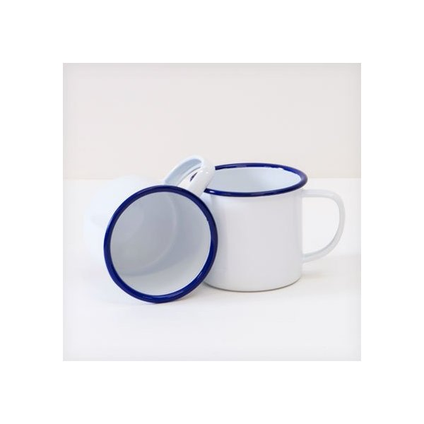 Enamelware 12 Oz Coffee Mug, Vintage White with Blue Rim