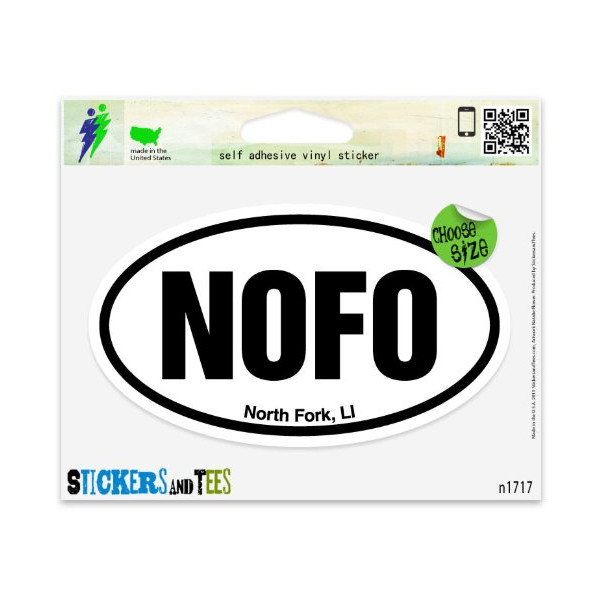 "NOFO North Fork LI Oval Vinyl Car Bumper Window Sticker 5"" x 3"""