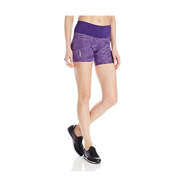 ZOOT SPORTS Women's Run Moonlight 5-Inch Short, Small, Deep Purple/Deep Purple Palm