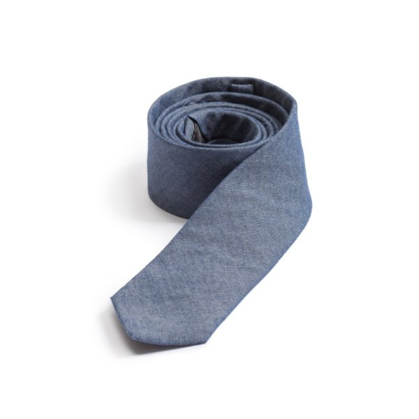 "100% Cotton Warm Blue Classic Chambray 2 1/2"" Skinny Tie"