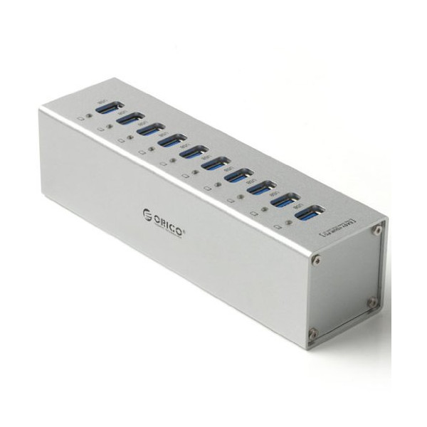 ORICO USB3.0 HUB A3H10-U3 Super Speed 10-Port with VL812 Controller & Premium 12V Power Adapter Silver