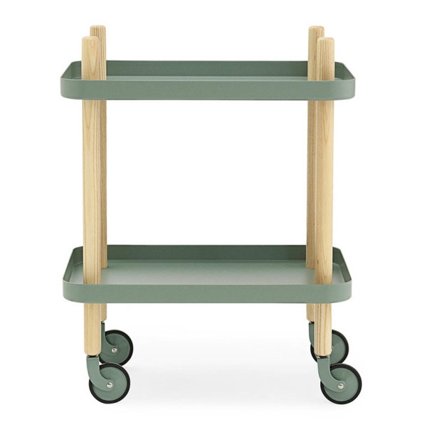Normann Copenhagen Block Side Table and Trolley, Dusty Green