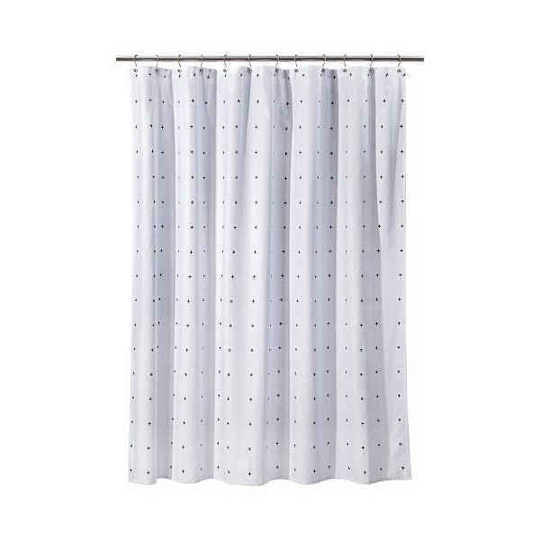 Room Essentials Plus Sign Shower Curtain - White/black