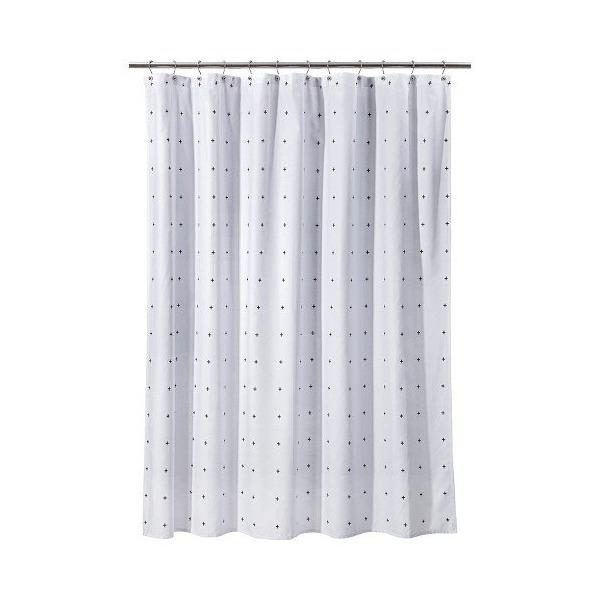 Room Essentials Plus Sign Shower Curtain - White/black