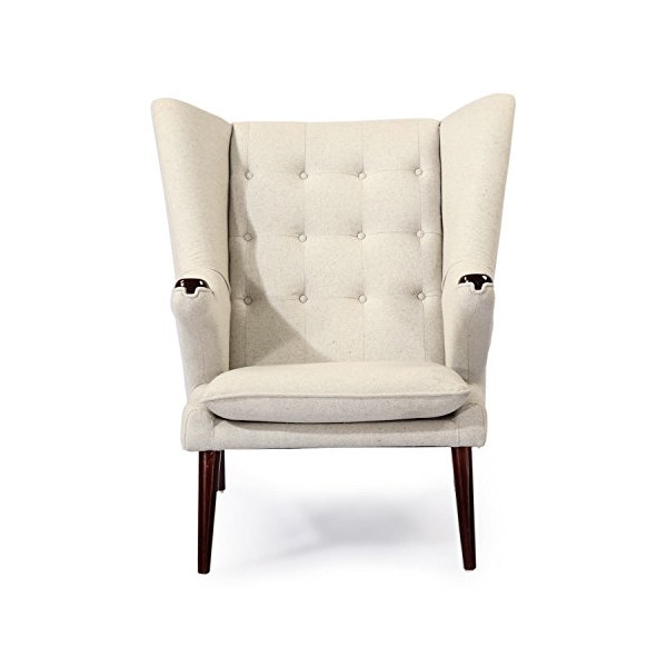 Kardiel Wegner Style Papa Bear Wing Chair & Ottoman, Heather White Cashmere Wool/Walnut Legs