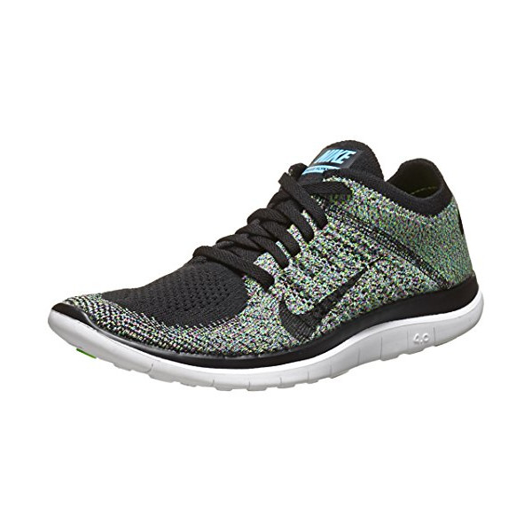 Nike Women's Free Flyknit 4.0 - Black / Black-University Blue-Electric Green, 9.5 B US