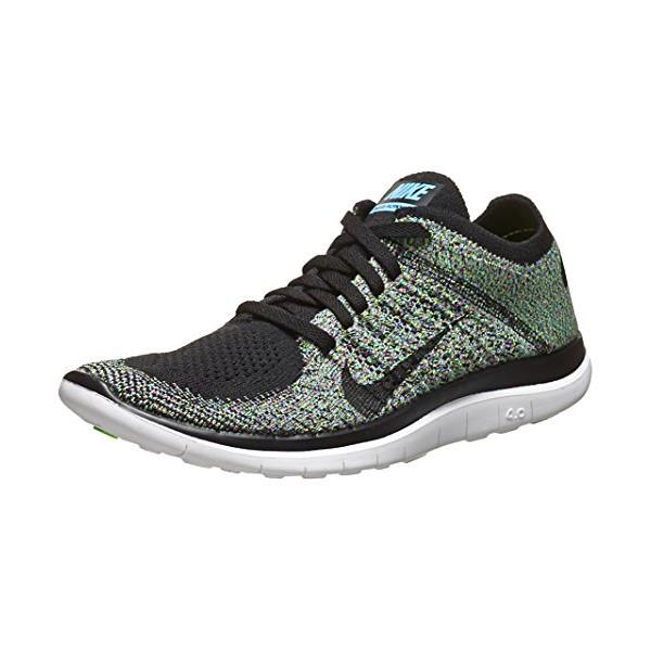 Nike Women's Free Flyknit 4.0 - Black / Black-University Blue-Electric Green, 9.5 B US