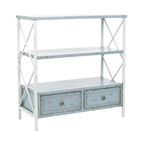 Safavieh American Home Collection Marco Distressed Console Table, Pale Blue and White