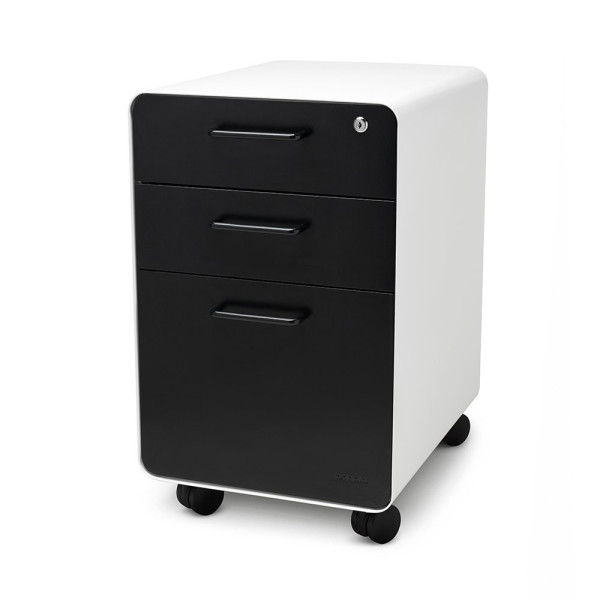 Poppin Locking Metal File Cabinet, 3-drawer, 25'' Tall, Letter/legal, White and Black, with Swivel Casters