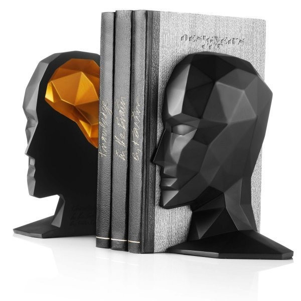 Knowledge in the Brain Bookends, Black/Gold