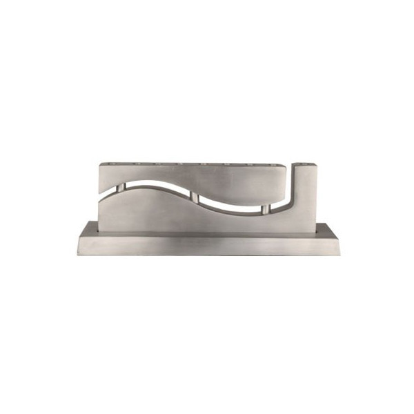 Yair Emanuel Curved Menorah with Waved Cutout Design in Aluminum