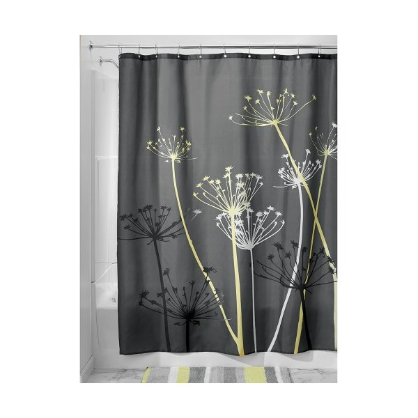 InterDesign Thistle Shower Curtain, 72 x 72, Gray/Yellow