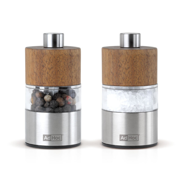 Adhoc David Acacia and Stainless Steel Pepper Mill Set