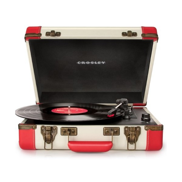 Crosley CR6019A-RE Executive Portable USB Turntable with Software for Ripping & Editing Audio (Red & Cream)