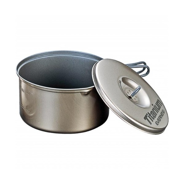 Evernew Titanium Non-Stick Pot Set L with Handle (1.3 L + 1.9 L)