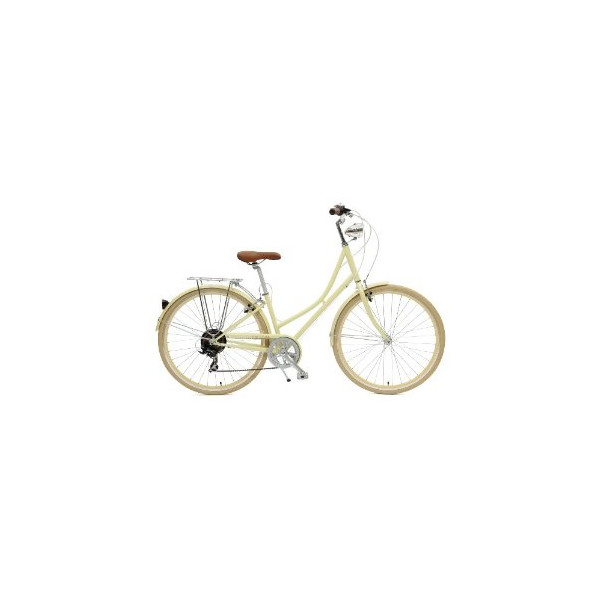 Critical Cycles Dutch Style Step-Thru 7-Speed Shimano Hybrid Urban Commuter Road Bicycle, Cream, Small/38cm