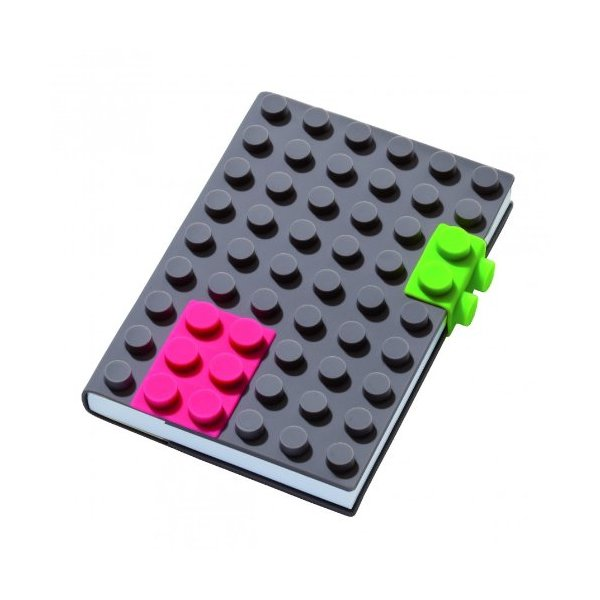Grey 4x6 Unlined Silicone Building Blocks Cover Notebook with Brick Design Fastening Device