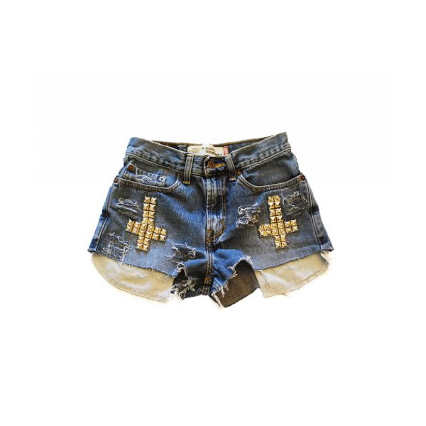 Women's Sophia Studded Cross Vintage High Waisted Cutoff Denim Jean Shorts-S