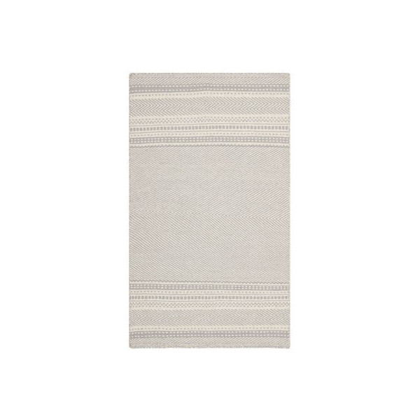 Safavieh KLM419B Kilim Collection Hand Woven Wool Area Rug, 4-Feet by 6-Feet, Grey and Ivory