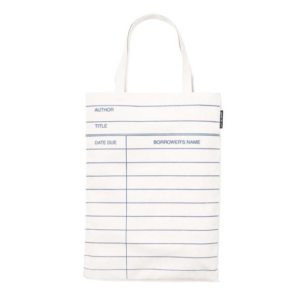 Out of Print Library Card Tote Bag, Natural