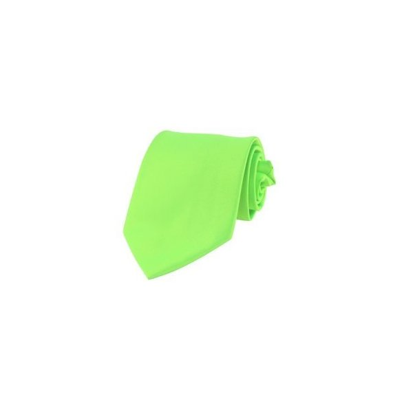 BRAND NEW Mens Necktie SOLID NEON GREEN Satin Neck TIE