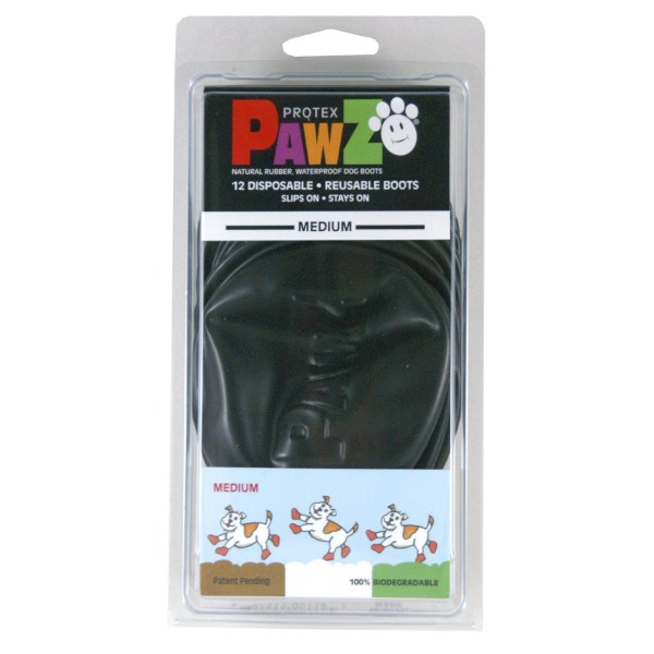 Pawz Black Water-Proof Dog Boots, Medium, Up to 3-Inches