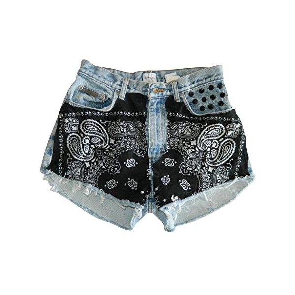 Women's Vintage Wrangler High Waisted Denim Shorts Black Bandana Distressed-XXL