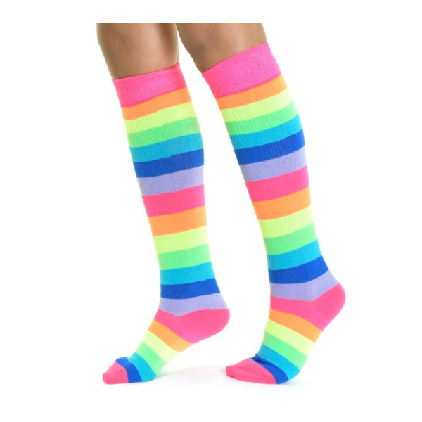 Neon Rainbow Striped Knee High Socks, One Size