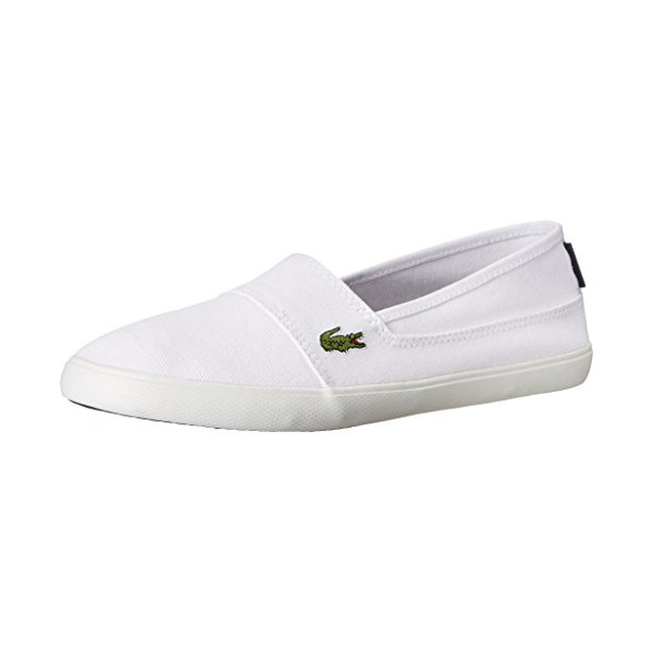 Lacoste Women's Marice LCR Flat, White/White, 6 M US