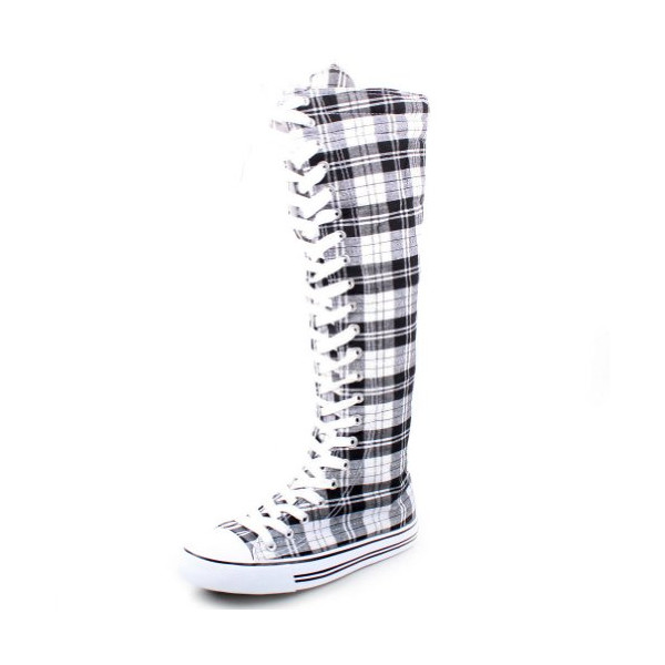 West Blvd Womens Sneaker Knee High Lace Up Boots,5.5 B(M) US,Black White Plaid